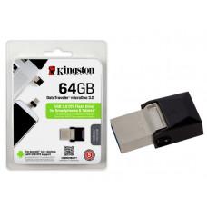 PEN DRIVE SMARTPHONE KINGSTON 64GB USB E MICRO USB 3.0 OTG DTDUO3/64GB - PRETO
