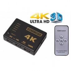 HUB SWITCH HDMI 5 PORTAS 5X1 FULL HD 4K COM SUPORTE 3D E CONTROLE REMOTO