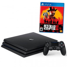 CONSOLE SONY PLAYSTATION 4 PRO DE 1TB CUH-7215B BIVOLT + JOGO RED DEAD REDEMPTION 2 - JET BLACK