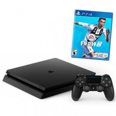 CONSOLE SONY PLAYSTATION 4 SLIM DE 1TB CUH-2215B BIVOLT + JOGO FIFA 2019 - JET BLACK