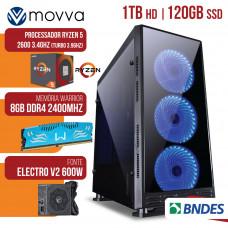 COMPUTADOR GAMER AMD RYZEN 5 2600 3.4GHZ MEM. 8GB DDR4 SSD 120GB HD 1TB FONTE 600W - LINUX